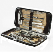 EUBUY 12PCS Nail Care Personal Manicure & Pedicure Set, Leather Travel & Grooming Kit Tool Clipper