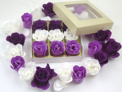 Valentine Rose bath bombs, Colourful Charming nine Rose Flower, lovely gift for birthday. beige gift box, 3 dark purple, 3 purple, 3 white, 17go