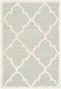 Safavieh Cambridge Collection CAM312L Handmade Moroccan Geometric Light Grey and Ivory Premium Wool Area Rug
