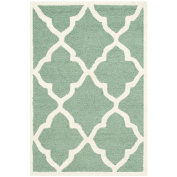 Safavieh Cambridge Collection CAM312T Handmade Moroccan Geometric Teal and Ivory Premium Wool Area Rug