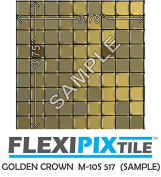 FLEXIPIXTILE, SAMPLE, Aluminium Mosaic Tile, Peel & Stick, Kitchen Backsplash, Accent Wall, GOLDEN CROWN