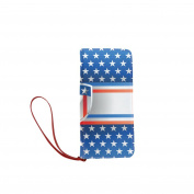 Women's Vintage Distressed American Flag stars Stripes Ind Clutch Wallet Purse with Wrist Strap