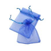BESTOYARD Organza Drawstring Gift Bags Wedding Favour Bags Jewellery Pouches Portable (Royal Blue) - 100 Pieces