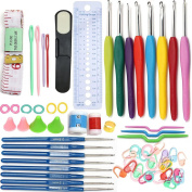 64 Pieces 16sizes Crochet Hook Set Needles Stitches knitting Craft Case crochet set Yoker Weave Yarn Set
