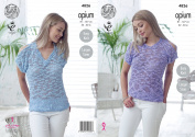 King Cole Womens Opium Knitting Pattern Ladies Easy Knit V or Round Neck Cold Shoulder Tops