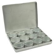 12-Pieces Clear Top Round Aluminium Storage Container Set 3.8cm Diameter Mini DIY Favour Boxes