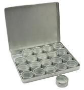 20-Pieces Clear Top Round Aluminium Storage Container Set 3cm Diameter Mini DIY Favour Boxes