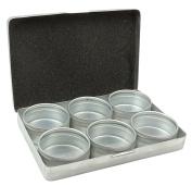 6-Pieces Clear Top Round Aluminium Storage Container Set, 5.1cm Diameter Mini DIY Favour Boxes