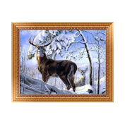 Doober 5D DIY Diamond Painting Snow Deer Embroidery Cross Stitch Home Decor