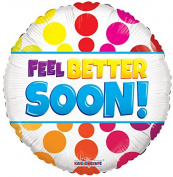 Get Well Soon Bright Dots 46cm Mylar Balloon Bulk