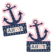 Ahoy - Nautical Girl - Anchor Shaped Decorations DIY Baby Shower or Birthday Party Essentials - Set of 20