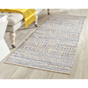 Safavieh Cape Cod Collection CAP353A Hand Woven Flatweave Natural and Blue Jute Runner