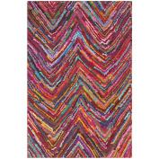 Safavieh Nantucket Collection NAN141A Handmade Abstract Chevron Pink and Multi Cotton Area Rug