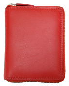 Red Large Unisex Metal Zip-around Genuine Leather Wallet