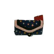 Mossimo Trifold Wallet Blue Demin Trimmed in Pink w/Stars