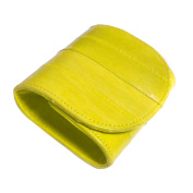 coin purse, natural genuine eelskin button wallet-yellow