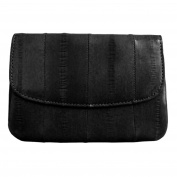 mini coin and card purse, natural genuine eelskin wallet-black