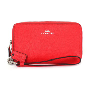Coach Crossgrain Leather Double Zip Phone Wristlet F57467 Bright Red