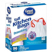 Great Value Odour Control Lavender Scent Drawstring Tall Kitchen Bags, 49.2l, 96 count