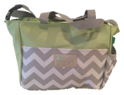 In-Obeytions Baby Nappy Bag-Weekender Tote-Stylish Design with Adjustable Straps- Green Chevron Srips