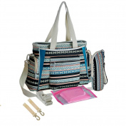 Multi Pocket Baby Nappy Tote Bag with Crossbody Strap,Stroller Hooks,Insulated Bottle Holder and a Nappy Changer Pad