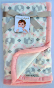Blankets & Beyond Elephants with Pink Trim and White Sherpa