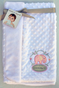 Blankets & Beyond Embroidered Pink Elephant on White Minky