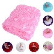 JISEN Baby Newborn Photography Prop Blanket 9D Rose Flower Photography Photo Backdrop Blanket Rug Pink Roses