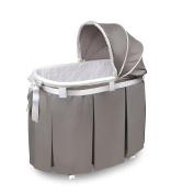 Badger Basket Wishes Oval Bassinet Full Length Skirt, Grey