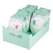 mDesign Storage Organiser Bins for Lotion, Baby Shampoo, Powder, Wipes - 25cm x 13cm x 36cm , Light Mint Green