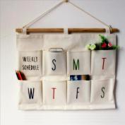 Hiltow Linen/Cotton Fabric 6 Pockets Wall Door Closet Hanging Storage bag organiser