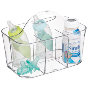 mDesign Baby Feeding Supplies Tote Caddy for Bottles, Formula - Small, Clear