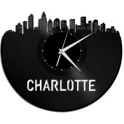 Charlotte Skyline Wall Clock Longplay Vinyl Best Collectible Perfect Art Valentine's Day Gift for Her Him Men Women