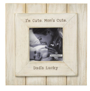 I'm Cute Mom's Cute Dad's Lucky 4 x 4 Wood Easel Back Picture Frame