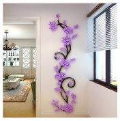 Kemilove DIY 3D Acrylic Crystal Flowers Vine Wall Stickers Living Room TV Background Decor, 24 80cm/9.431.5""