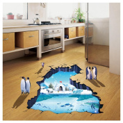 Kemilove 3D Polar World Floor/Wall Sticker Removable Mural Decals Vinyl Living Room Decor