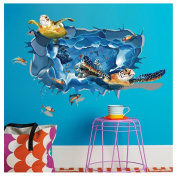 Kemilove 3D Marine Animals Turtle Dolphin Floor/Wall Sticker Removable Mural Decals Vinyl Living Room Decor