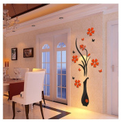 Kemilove 3D Vase Flower Removable Wall Vinyl Decal Art Home Decor Wall Sticker