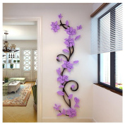"Kemilove DIY 3D Acrylic Crystal Flowers Vine Wall Stickers Living Room TV Background Decor, 45cmX150cm/17.72""X59.06"""