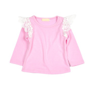 Raylans Baby Toddler Kids Girls Lace Cotton Long Sleeve T-shirt Shirt Tops Blouse
