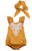 Baby Girls Ruffle Lace Fly Sleeve Romper Sunsuit Jumpsuit with Headband