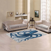 JC-Dress Area Rug Cover Blue Octopus Modern Carpet Cover 1.5mx0.9m