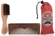 Beechwood Beard Brush and Sandalwood Comb Travel Set