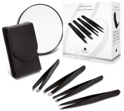 Brilliant Beauty 4-Piece Tweezer Set with Leather Case - 4 Professional Grade Precision Tweezers with Case and Magnifying Mirror; Includes Slant Tip, Pointed Tip, Rounded Tip, Flat Tip Tweezers