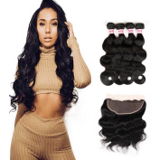 Fabeauty Body Wave 33cm x 10cm Lace Frontal Closure with Hair Bundles Brazilain Human Virgin Hair 4 Bundles with Free Part Lace Frontal Closure Ear To Ear With Baby Hair Bleached Knots 8 10 12 12+20cm