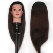 60cm - 60cm Mannequin Head 85% Real Human Hair Hairdresser Training Head Manikin Cosmetology Head (Table Clamp Stand Included) MJ0416S