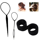 OR Pure Hair Styling Clip Hair Braider Braid Tool Magic Wonder Holder Clip Ponytail Holders Hairbands Hair Circle Women Simple Ponytail Topsy Tail Kit Hair Donut Maker Hairstyle Must-haves Tool