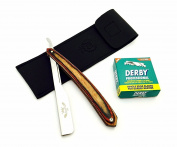 Salon Barber Cut Throat Shavette Straight Razor, 100 Derby Blades Vintage Wooden Handle Razor Holder