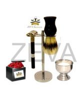 Men's 5 Pieces Double Edge Safety Razor Bristle Shaving Brush Stainless Steel Stand Shaving Cup & Shaving Soap Gift Set/Kit Black