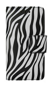 Reiko Wallet case 3 in 1 with Zebra Pattern & kickstand for IPHONE 5 - Retail Packaging - Black